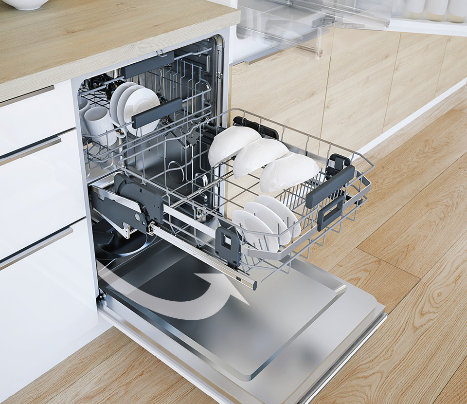 Lift system for dishwashers: ComfortSwing